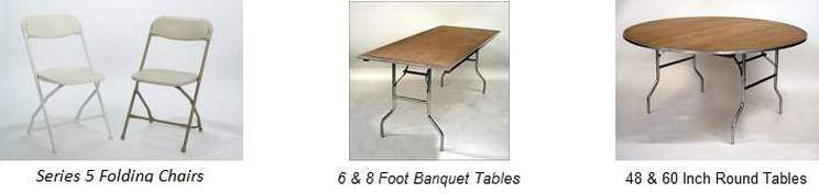 folding chair, rectangle banquet and round table