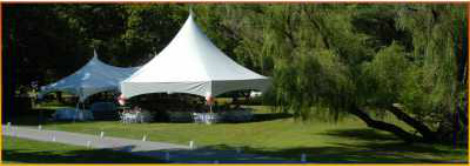 white high peak wedding tents party scene